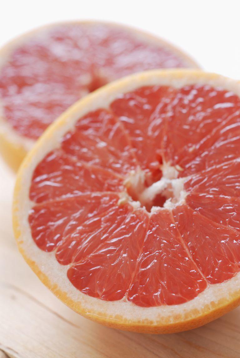 Halved pink grapefruit, close-up
