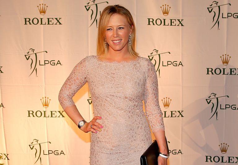 Morgan Pressel poses on the red carpet during the LPGA Rolex Awards reception at Tiburon Golf Club on November 22, 2013