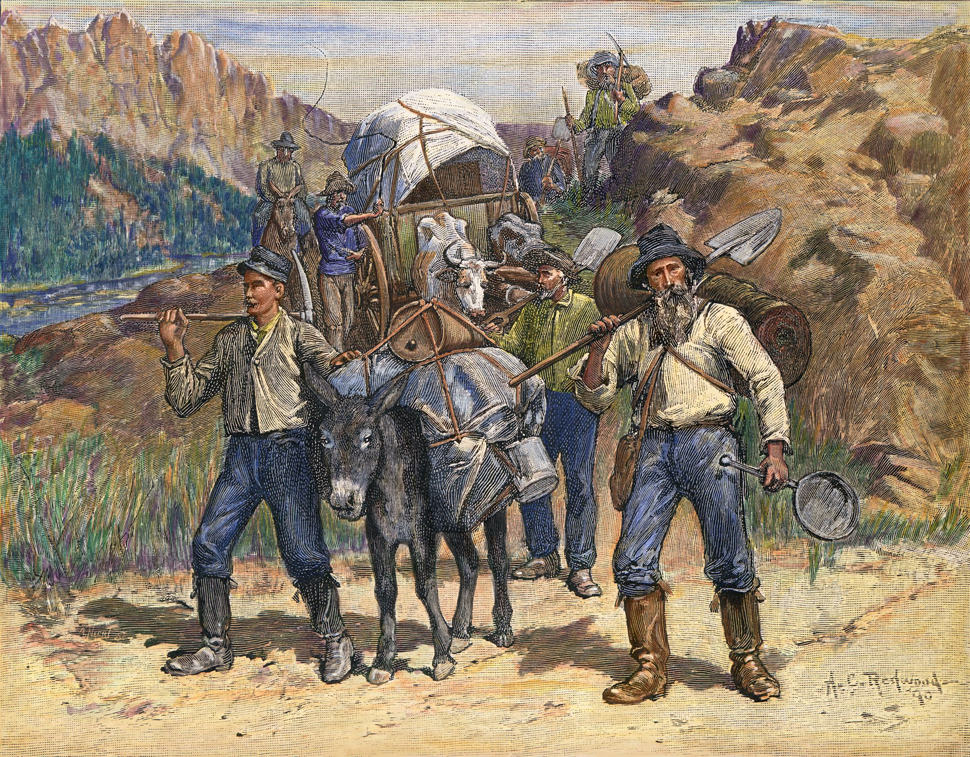 account of the great gold rush of 1849 He noticed several flakes of metal in the tailrace water and recognized them to be gold though he tried to keep it a secret, the word spread quickly, and triggered the california gold rush of 1849 .