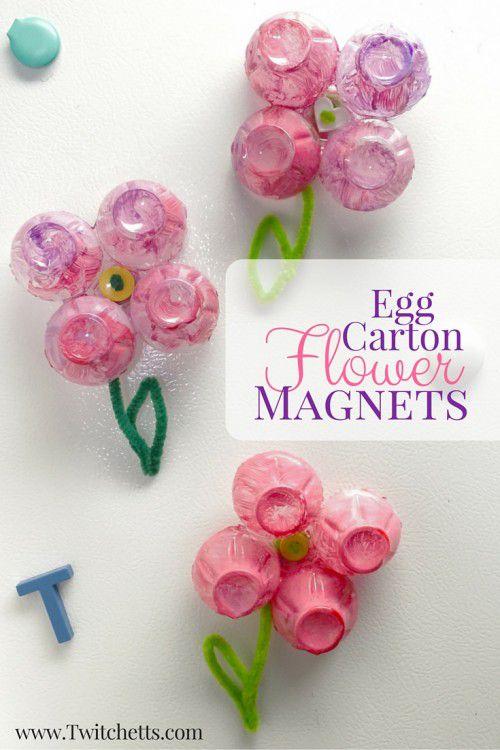 egg carton flower magnets