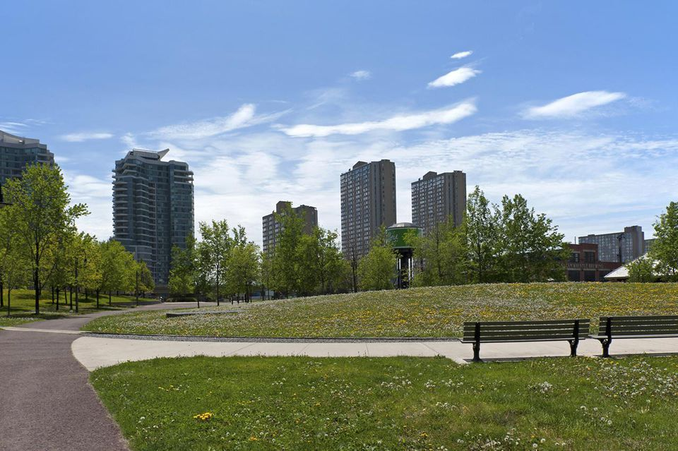 A city park in Downtown Toronto