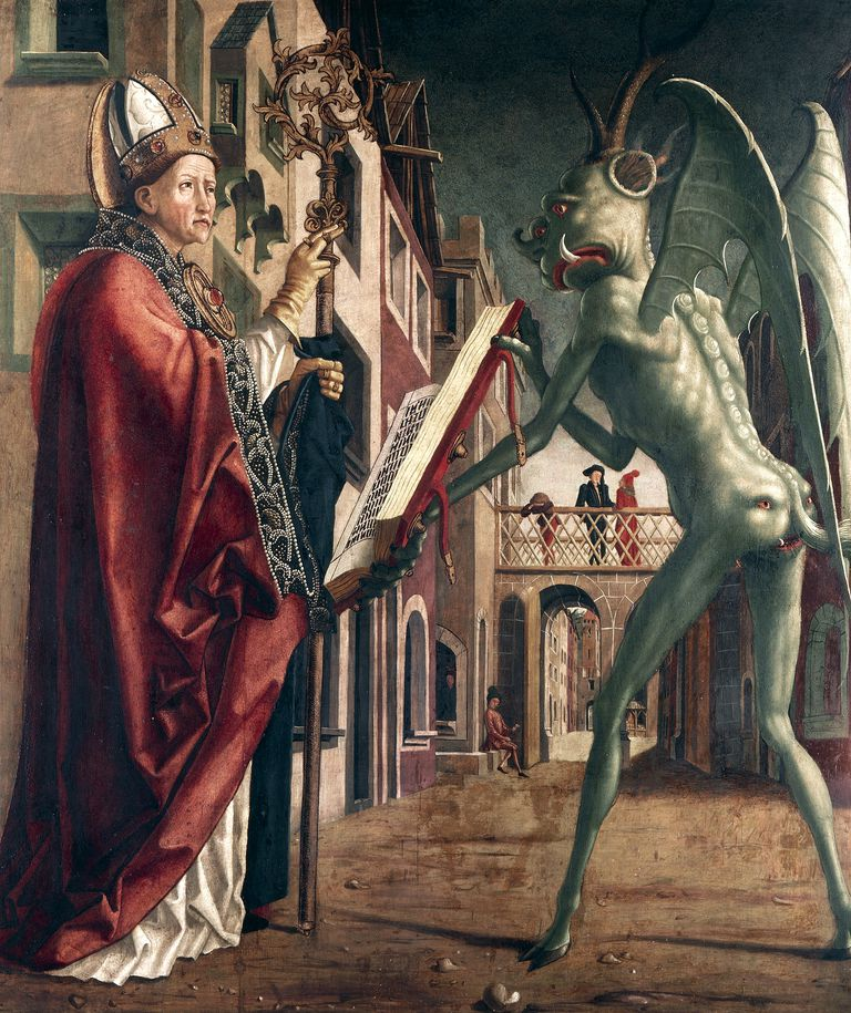 St Wolfgang and Devil, Life of St Wolfgang, by Michael Pacher (circa 1435-1498), oil on canvas, 103x91 cm, 1471-1475