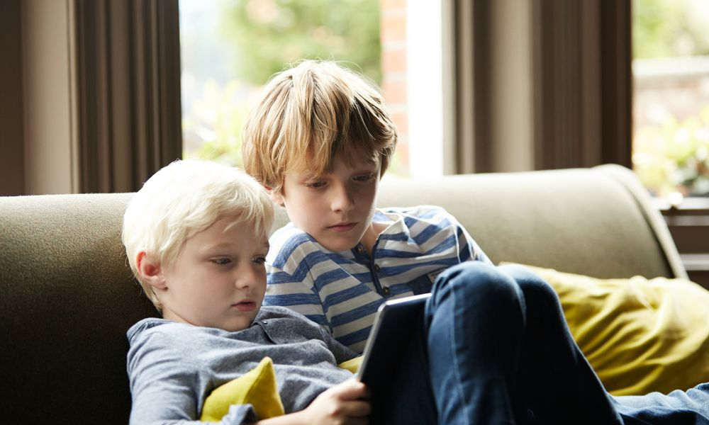 Brothers using digital tablet
