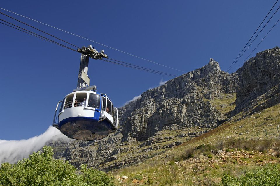 South Africa, Cape Town, Table Mountain, cable car, low angle view