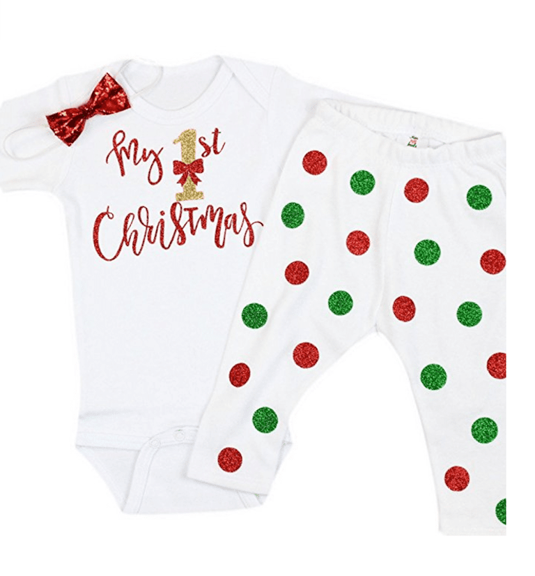 olive loves apple baby girl my first christmas onesie with leggings