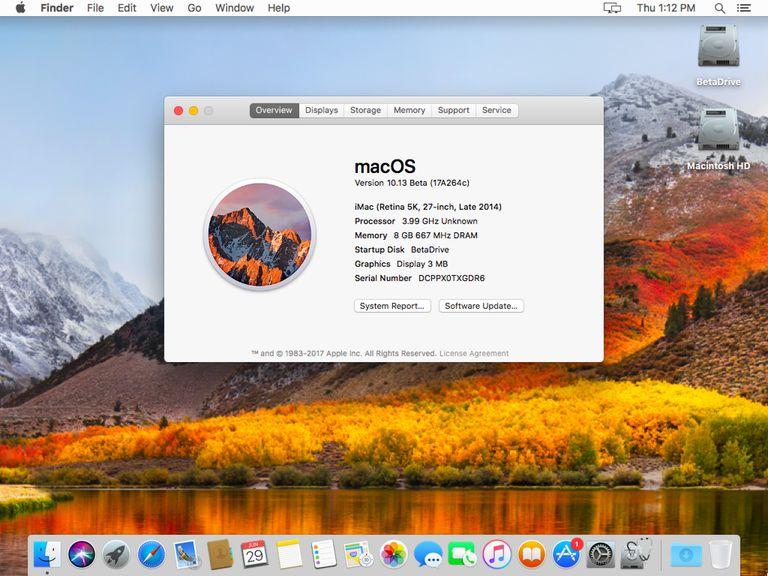 macOS High Sierra desktop