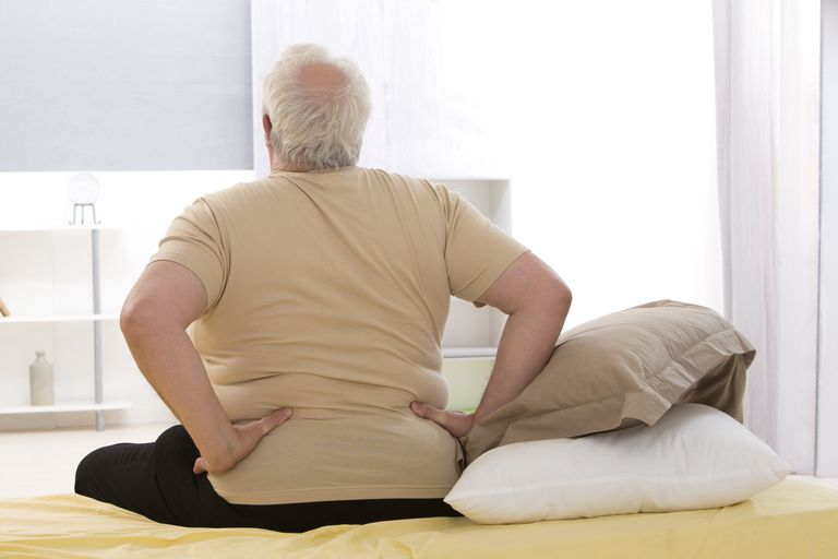 Photo of an overweight man with back pain.