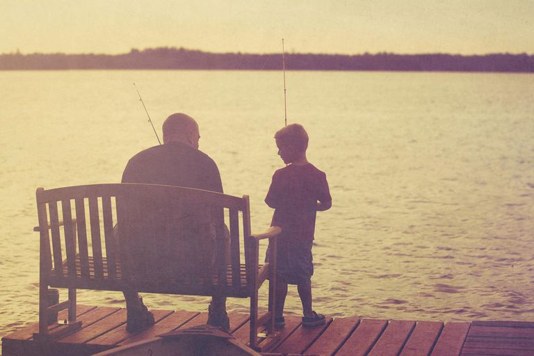 ather and son fishing onpier