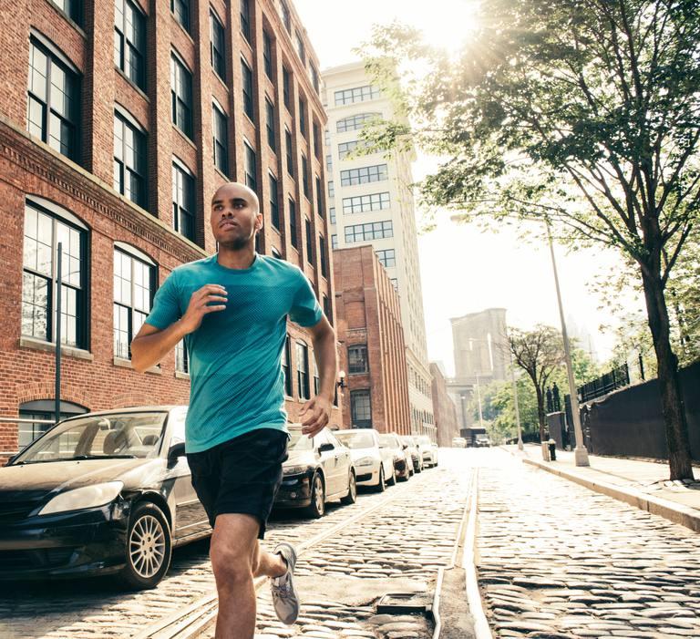 Man running through street