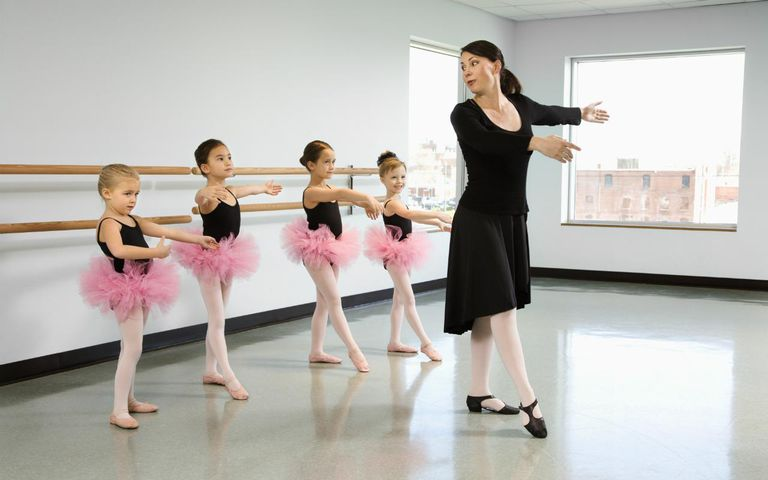 Ballet instructor demonstrating position for students