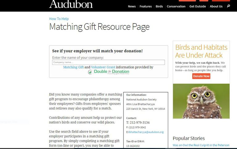 The matching gift page at the Audubon Society.