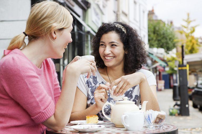 Female friends having tea break
