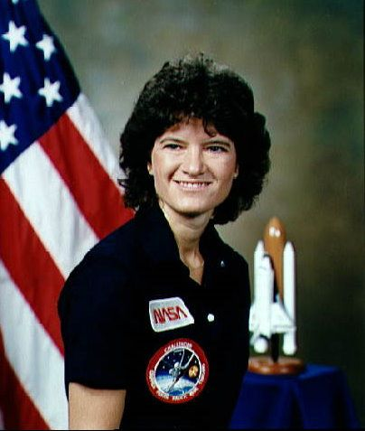 NASA official portrait of female astronaut Sally Ride.