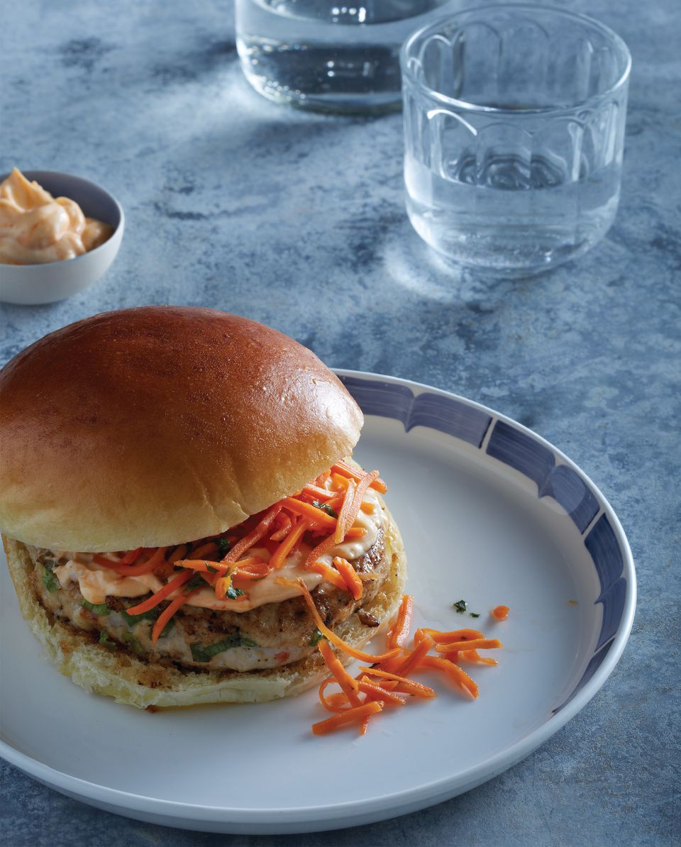 Thai Chicken Burgers with Pickled Carrots