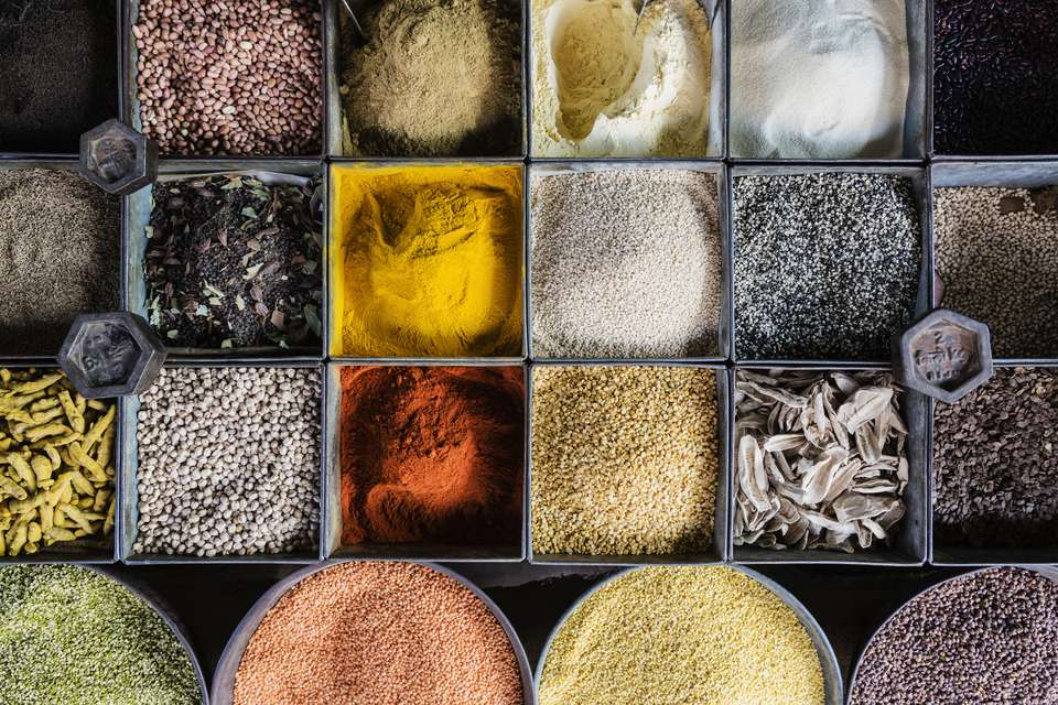 Variety of spices and lentils in market, Jaisalmer, Rajasthan, India