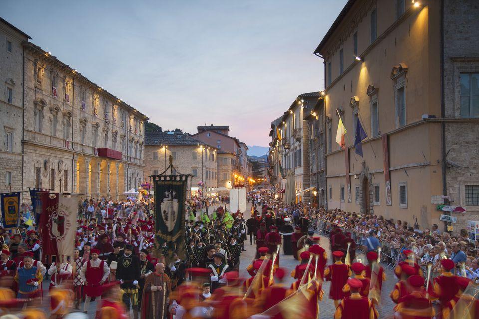 Procession of medieval festival of La Quintana in Piazza Arringo, Ascoli Piceno, Le Marche, Italy