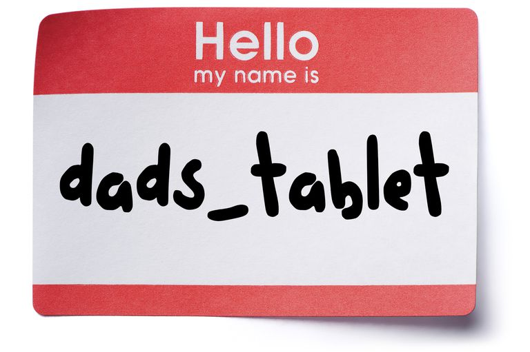 Image of a HELLO MY NAME IS sticker with 'dads_tablet' as the name