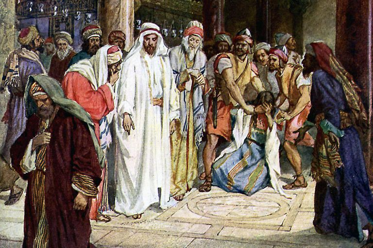 The Pharisees bring an adulteress to Jesus