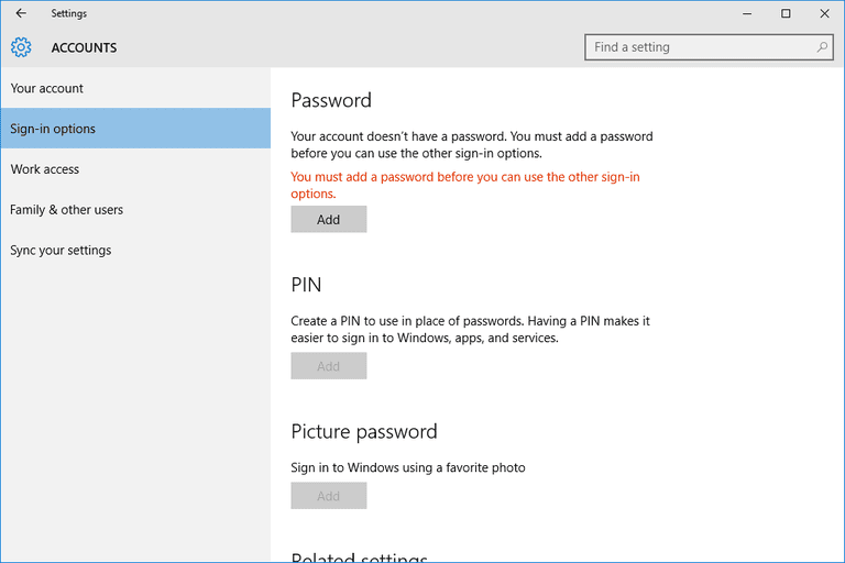 Screenshot of the sign-in options in Windows 10