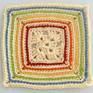 Rainbow Outlines Granny Square Pattern