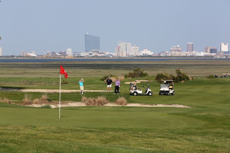 A view across Atlantic City Country Club with the city skyline in the background.