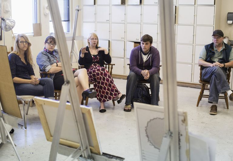 Artists critiquing work in studio