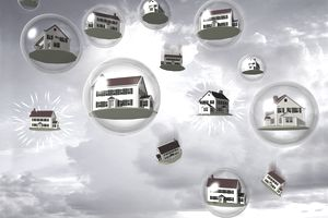 Houses inside of floating and bursting bubbles