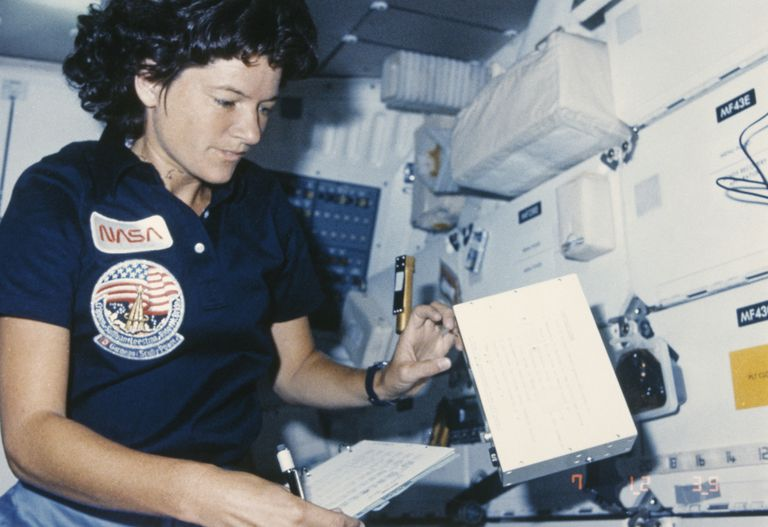 Sally Ride in Challenger space shuttle interior, 1984
