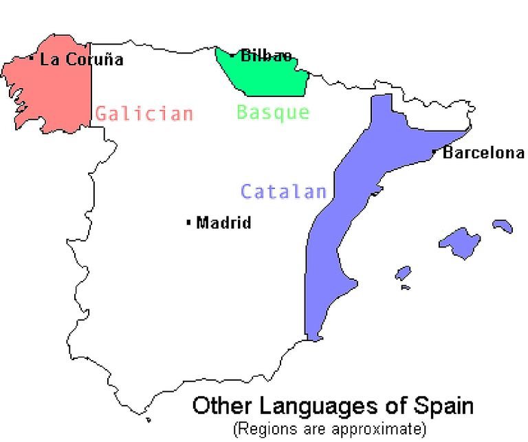 Linguistic map of Spain