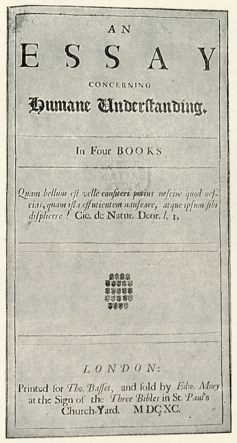 John Locke - titlepage to his 'Essay on Humane Understanding'. English philosopher