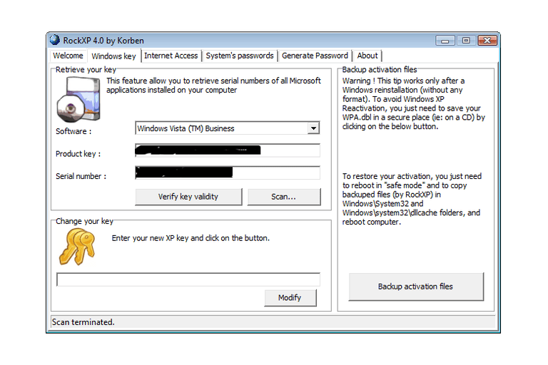 Screenshot of RockXP v4.0 in Windows Vista