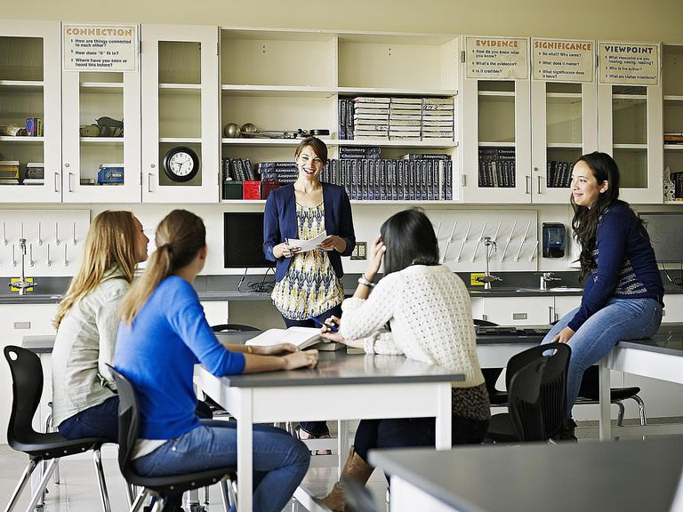 Teacher in discussion with students in classroom