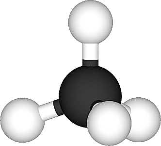 This is the ball and stick model of the methane molecule.