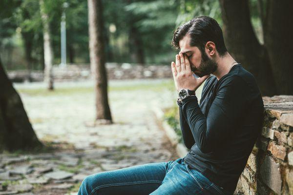 Anxious man outside