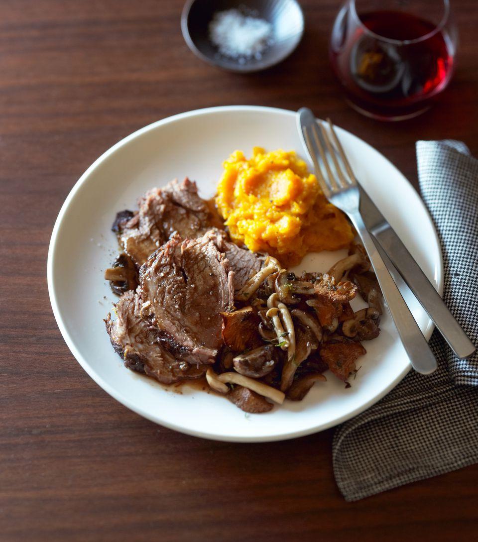 Pot roast, wild mushrooms, mashed butternut squash
