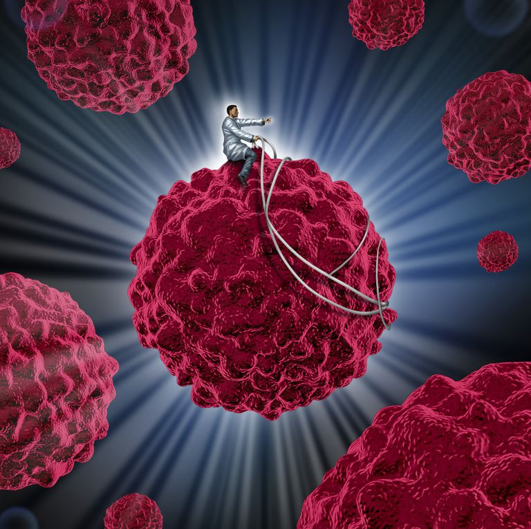 tiny man tying a rope around a cancer cell