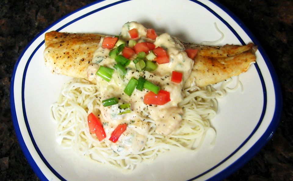 Red Snapper With Cream Shrimp Sauce