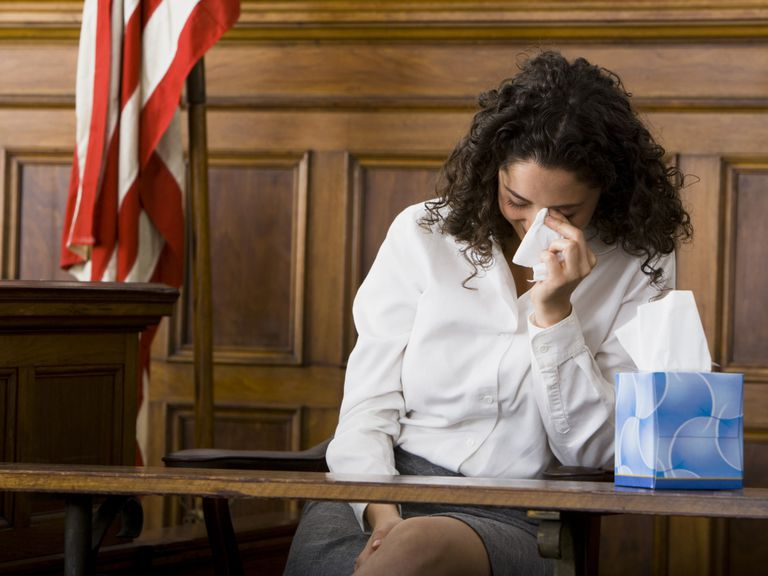 Woman crying in court