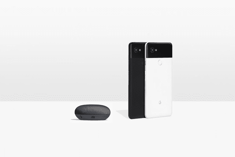 Photo of a Google Pixel 2 XL and a Google Home Mini