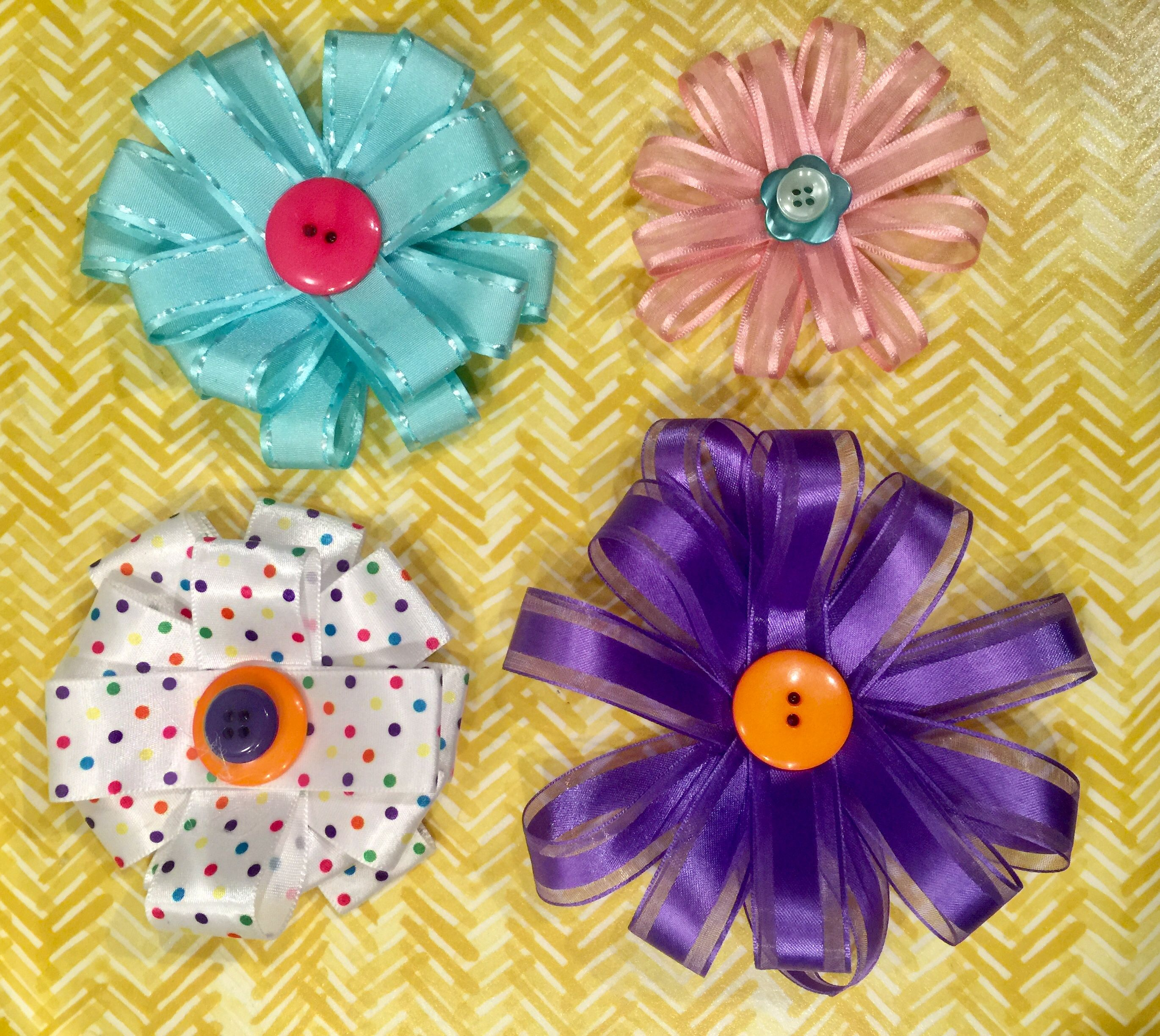 How to make ribbon flowers jeuxipadfo Gallery