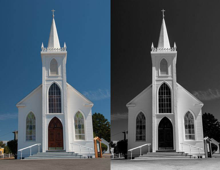 The color image of the church is on the left and the completed grayscale version is on the rtight.