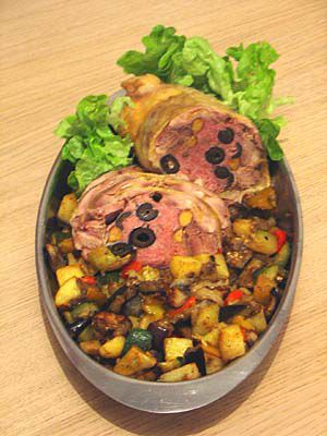 The stuffed chicken: Done, and served with caponata.
