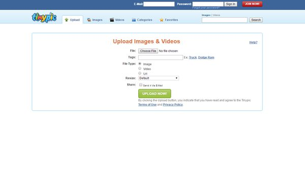 Uploading images and videos to tinypic