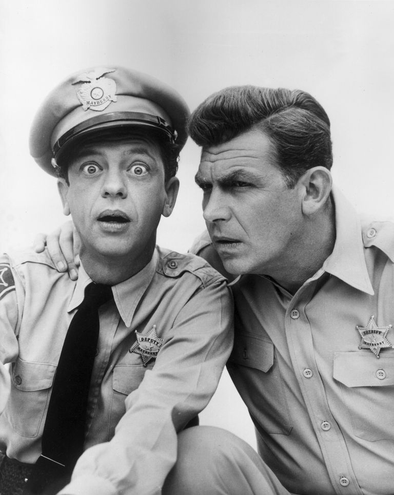 Deputy Barney Fife (Don Knotts) and Sheriff Andy Taylor (Andy Griffith) in a promotional photo for the Andy Griffith Show.