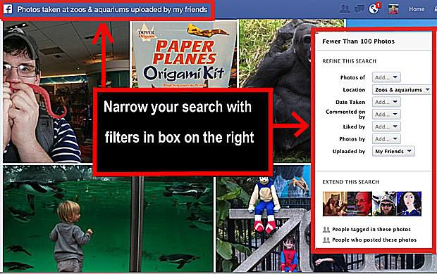 Facebook photo search filters