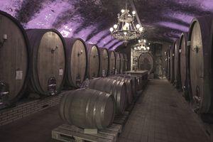 Barrels in a basement hallway