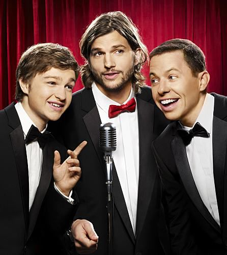 A picture of Angus T. Jones, Jon Cryer and Ashton Kutcher