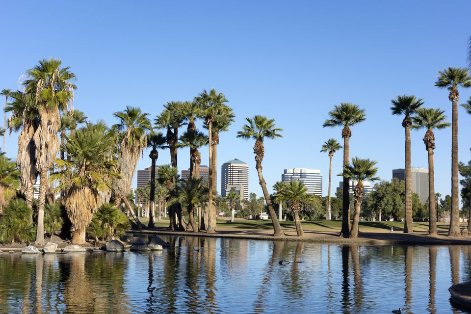 Encanto Park Lake, Phoenix downtown, AZ