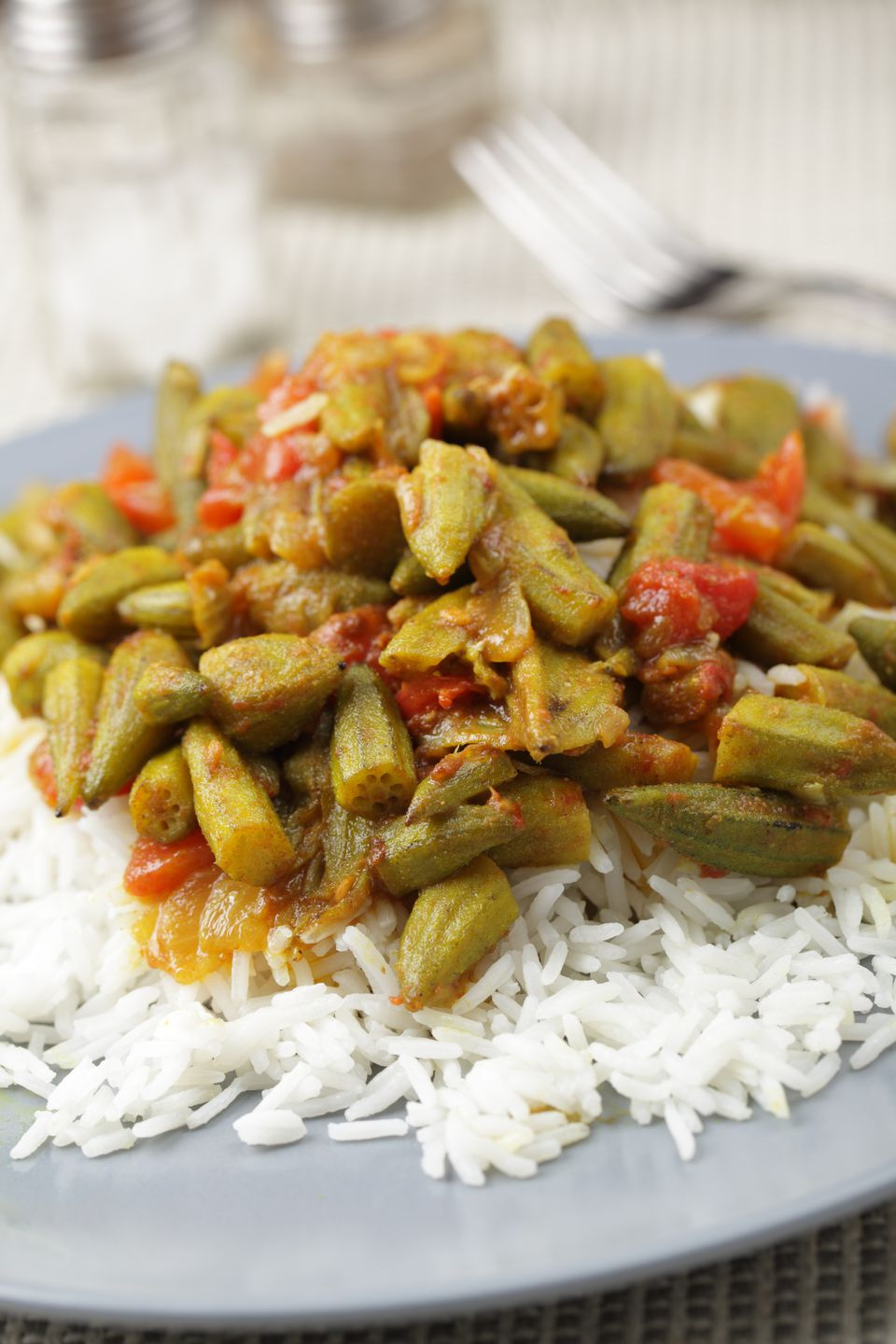 Okra curry with basmati rice