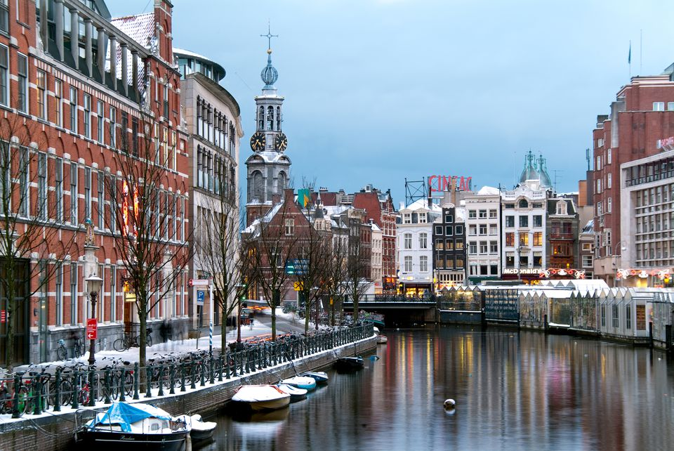 Canals of Amsterdam under snow at Christmas